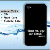 Black Drunk Funny iphone 4 Case iphone 4s Fun Funny iphone4 4s Casing Hard Case Silicone 3D
