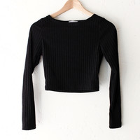 Long Sleeved Ribbed Crop Top - Black