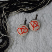 Earrings Handmade Hearts Embroidery, jewelry, cotton, cross stitch earrings, gift