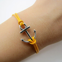Vintage Style silvery Anchor yellow Ropes Bracelet Women Jewelry Bangle Cuff Bracelet Men Ropes Bracelet 1217A
