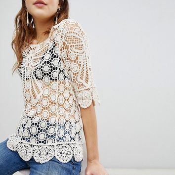 Brave Soul Crochet Top with Bow Details at asos.com