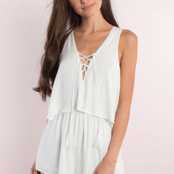 Missy Striped Lace Up Romper