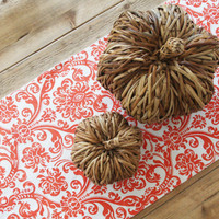 Give Thanks Table Runner: Orange Damask