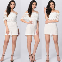 Fashion Sexy Off Shoulder Short Sleeve Hollow Lace Stitching Chiffon Shorts Romper Jumpsuit