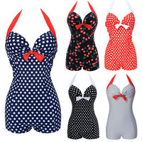 Hot Women One Piece Bathing Suit Dotted Beachwear Push Up Swimsuit Plus Size Swimwear Monokini M To 3XL