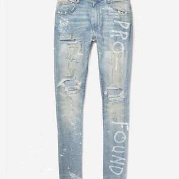 Destroyed Light Blue Hand Painted Jeans
