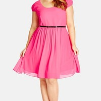 Plus Size Women's City Chic 'Soft 'n Floaty' Fit & Flare Dress