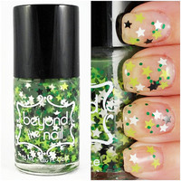 Electric Dawn - Green, Black, White Star Glitter Nail Polish