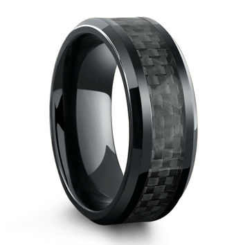 All Black Titanium Ring Mens Wedding Band With Carbon Fiber Inlay