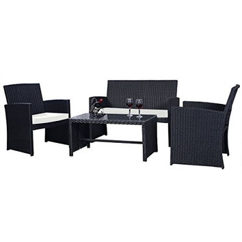 Goplus 4 PC Rattan Patio Furniture Set Black Wicker Garden Lawn Sofa Cushioned Seat