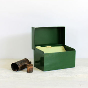 green industrial file box // metal recipe box // 4 x 6 card file // vintage office // photo box // with dividers