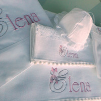 Personalized Baptism set,6items, name embroidery, quality cotton set