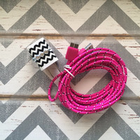New Super Cute Jeweled Black & White Chevron Designed Dual USB Wall Connector + 10ft Hot Pink Braided Samsung Galaxy S5 Cable Cord