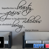 Marilyn Monroe Wall Quotes Vinyl Sticker Quote Art by HappyWallz