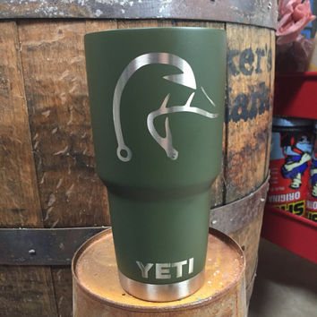 Powder Coated 20 or 30oz Yeti Rambler Cup - Matte Olive Drab Green