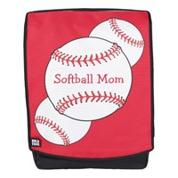 Softball Mom Red White Sports Boldface Backpack
