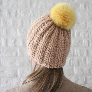 Fur pom pom hat in Beige, Tan hat, Chunky knit, Ribbed hat, Fur pom pom beanie, Detachable pom pom