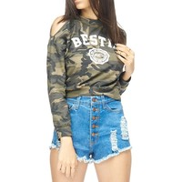 Bestie Forever Cold Shoulder Camo Top