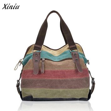 Xiniu High Quality Women Striped Canvas Handbags Fashion Shoulder Bags Contrast Color big capacity Crossbody Bags bolsa feminina