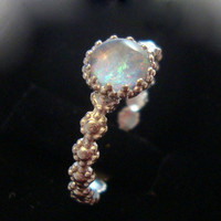 Romantic and Feminine opal ring - reclaimed/recycled .925 sterling silver custom sized