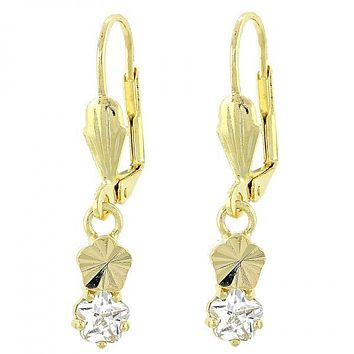 Gold Layered Dangle Earring, Flower Design, with Cubic Zirconia, Gold Tone