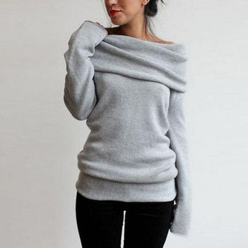 ONETOW Heathered Turtleneck Off-the-Shoulder Knit Sweater