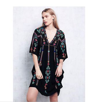 Vintage Ethnic Flower Embroidered  Cotton Tunic Dress