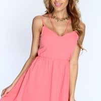 Coral Cross Strap Cut Out Sexy Dress