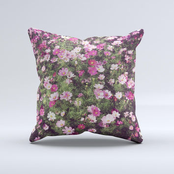 Vintage Pink Floral Field Ink-Fuzed Decorative Throw Pillow