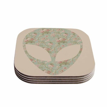 "Alias ""Floral Alien"" Pink Teal Coasters (Set of 4)"