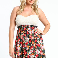 PLUS SIZE LACE FLORAL BUSTIER DRESS