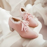 Womens Trend Lace Cute Lolita Lace Shoes Chunky Kitten Lace Up Oxford Wedding Shoes A16