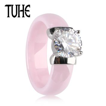 TUHE New 6MM Light Pink Ceramic Ring For Woman With Big Shining Crystal Healthy Without Scratches Women Wedding Engagement Ring
