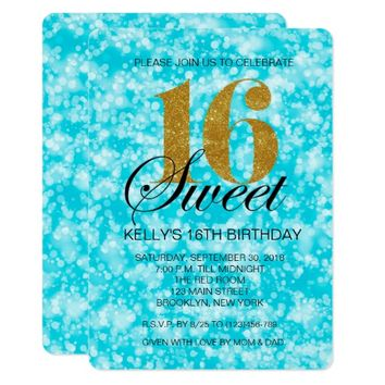 Teal Sweet 16 Gold Glitter Light Print Invite