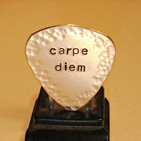 Carpe diem bronze guitar pick