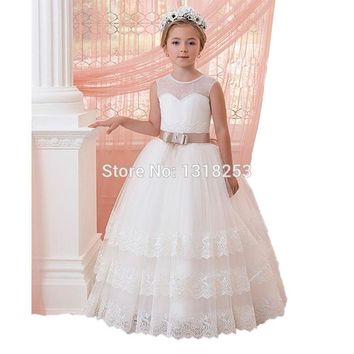 Pearls Tulle White Flower Girl Dresses Lace Edge Christmas Evening First Communion Girls Puffy Dress kids Pageant Princess New