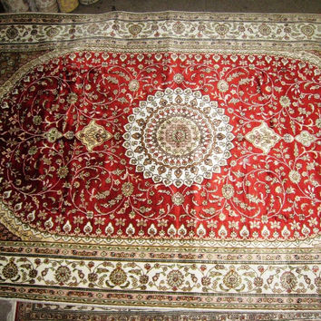 Persian Rug 5x8 Turkmen Carpet Tribal 100% Silk Medallion Red Maroon Bohemian