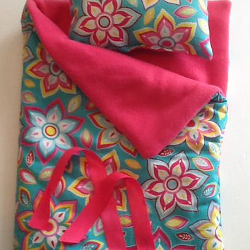 Doll Sleeping Bag in teal with flowers and pink fleece lining for 18 inch dolls and others, sleep sack, slumber party or camping bag