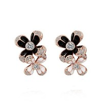 MLOVES Women's Classical Diamanted Graceful Black & White Ear Cuffs