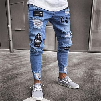 Men's Fashion Vintage Ripped Jeans Super Skinny Slim Fit Zipper Denim Pant Destroyed Frayed
