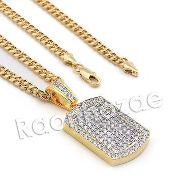Lab diamond Micro Pave Grid Dog Tag Pendant w/ Miami Cuban Chain BR052