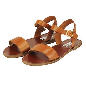 DONDDI SANDAL IN BROWN BY STEVE MADDEN