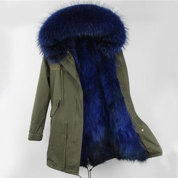 Fur Parka Winter Women Jacket Warm Long Military Parka Real Rex Fur Lining Hood Coat Genuine Raccoon Fur