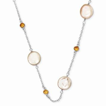 Sterling Silver Champagne CZ, Peach Freshwater Cultured Coin Pearl Necklace