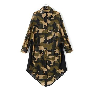 Autumn Women's Fashion Camouflage Chiffon Long Sleeve Blouse [6513036295]