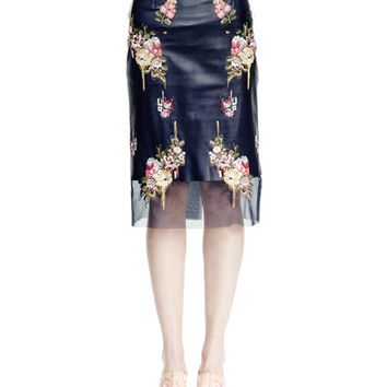 Long-Sleeve Harness Ruffle Blouse & Floral-Embroidered Leather Skirt