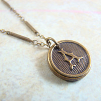 Personalized Necklace Choose Your Letter Made with Antiqued Brass