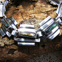 Taxco Sterling Silver Bracelet with Abalone Inlay