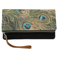 Stylized Peacock Feathers Clutch