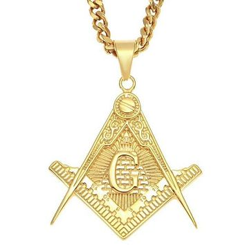 Masonic Pyramid Golden Square Compass Necklace